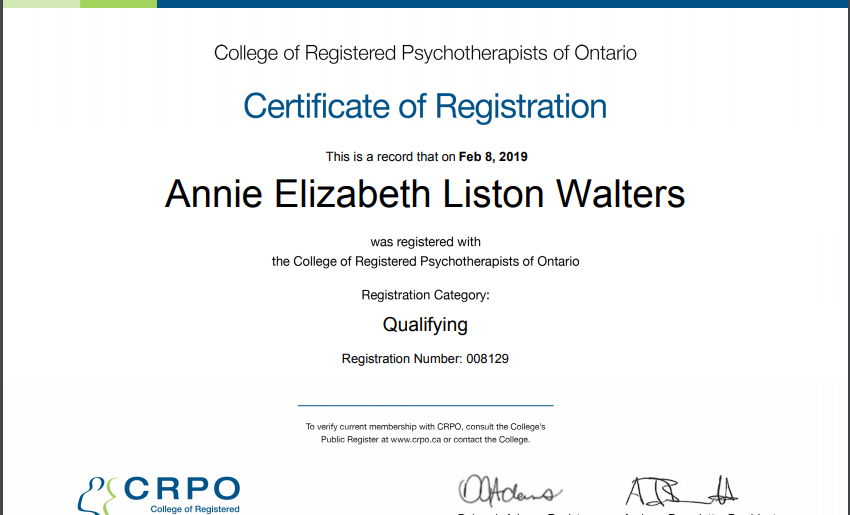 Registered Psychotherapist Certifications